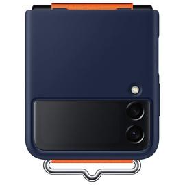 Futrālis Samsung Silicone Cover for Galaxy Z Flip 3 with Strap navy, zila