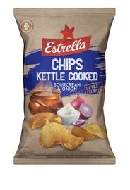 Bulvių traškučiai Estrella Kettle, grietinės ir svogūnų skonio, 120 g