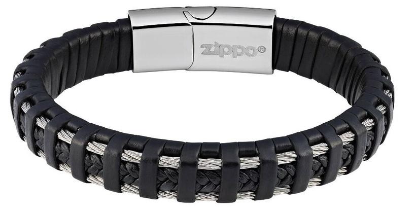 Браслет Zippo Steel Braided Leather Bracelet 20cm