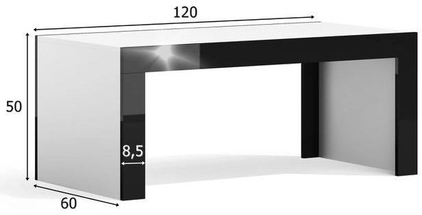 Kavos staliukas Pro Meble Milano Walnut/Black, 1200x600x500 mm