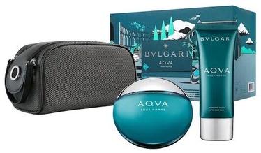 Подарочный набор для мужчин Bvlgari Aqva Pour Homme 100ml EDT + 100ml Aftershave Balm + Pouch