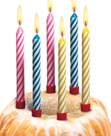 Susy Card Candles 12pcs for Birthday Cakes Assorted Stripes