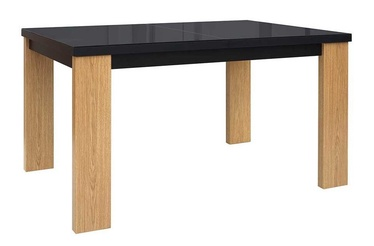 Black Red White Arosa Extendable Table 140/180cm Baltic Oak/Black Gloss
