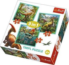 Dėlionė Trefl, dinozaurų pasaulis, 3in1 34837
