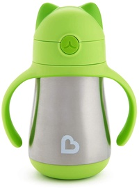 Munchkin Cool Cat Stainless Steel Straw Cup Green
