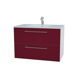 Apatinė spintelė su praustuvu 76 cm, 2 stalčiai, blizgiai raudona