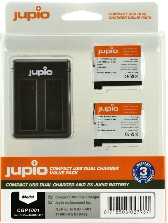 Jupio Kit 2x GoPro AHDBT-401 HERO4 1160 mAh + Compact USB Charger