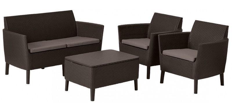 Keter Salemo 2 Seater Lounge Set Brown