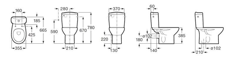 Tualete Roca Victoria A342395000, 355 mm x 665 mm
