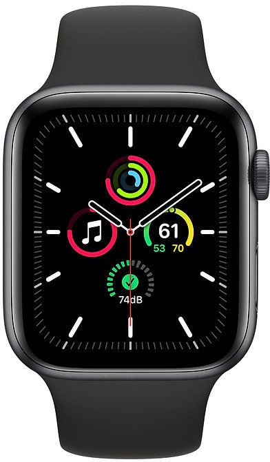 Išmanusis laikrodis Apple Watch SE GPS 44mm Space Gray Aluminum Black Sport Band