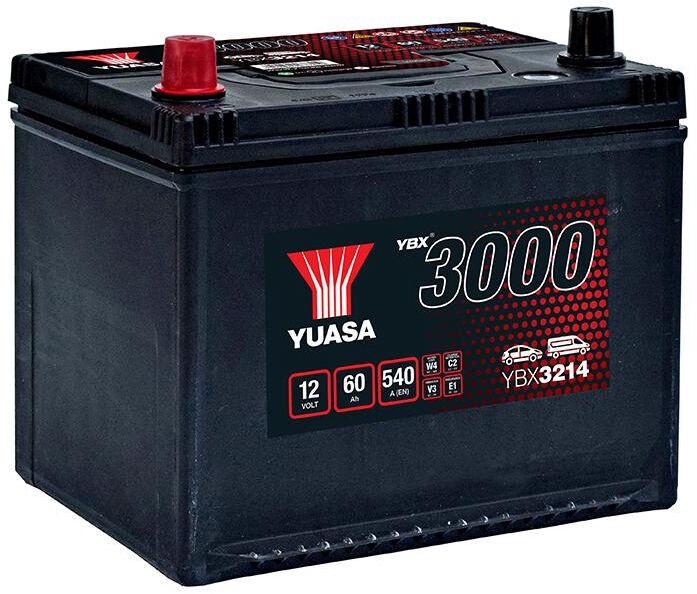 Аккумулятор Yuasa YBX3214, 12 В, 60 Ач, 540 а