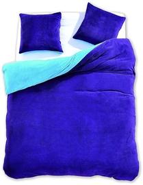 Gultas veļas komplekts DecoKing Furry, zila, 155x220/80x80 cm