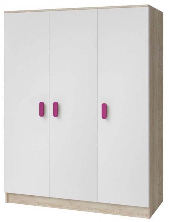 Idzczak Meble Smyk III 19 Wardrobe 3D White/Sonoma Oak/Pink