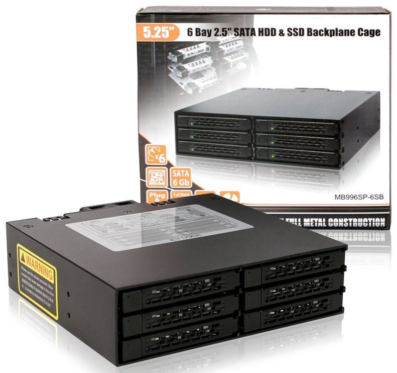 """Icy Dock ToughArmor MB996SP-6SB Metal 6x2.5"""" SAS / SATA"""