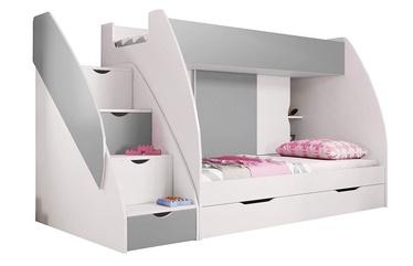 Dviaukštė lova Idzczak Meble Marcinek White/Grey, 255x125 cm