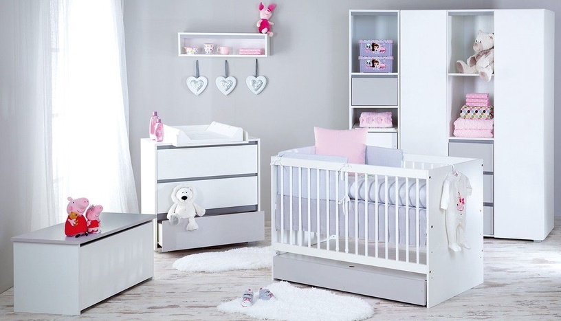 Klups Dalia Grey Cot With Storage 120x60cm