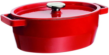 Pyrex SlowCook Oval Cast Iron Casserole 33cm Red