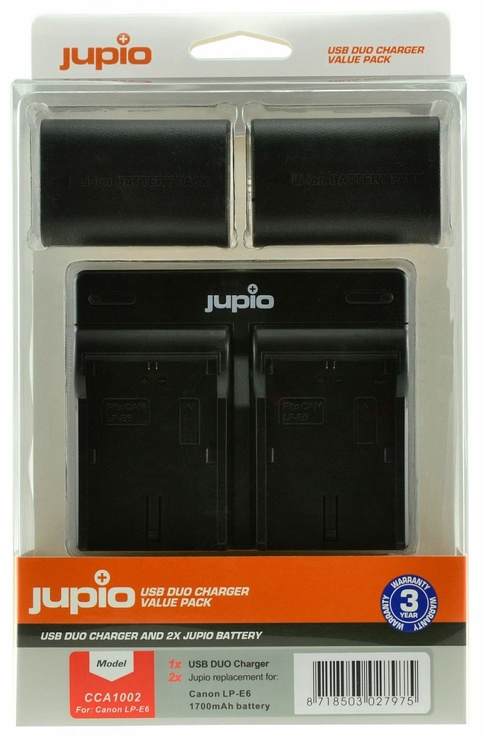 Jupio Kit 2x LP-E6 1700mAh+USB Dual Charger