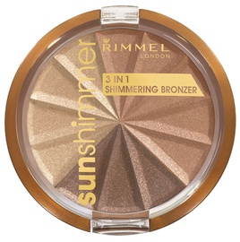 Bronzējošs pulveris Rimmel London 3 in 1 Shimmering 02, 9.9 g