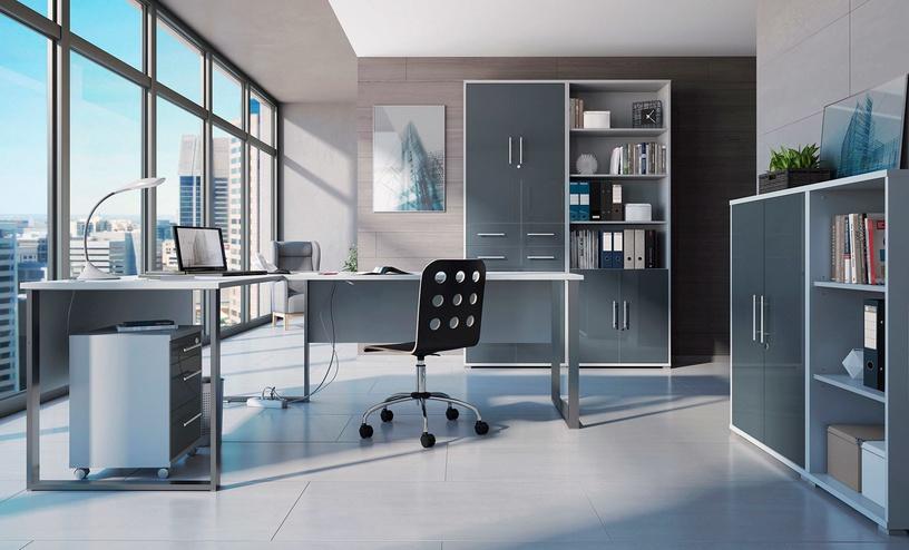 Komoda Black Red White Office Lux Light Grey/Graphite Glass