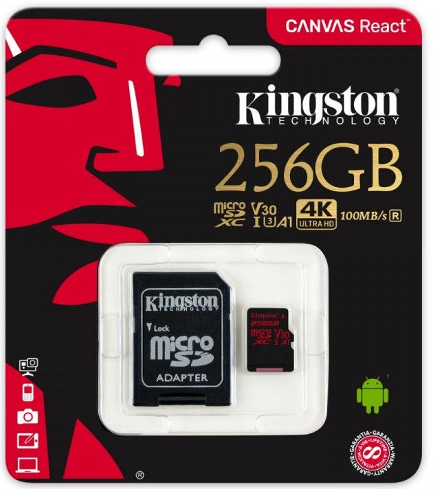 Kingston Canvas React Series 256GB + SD Adapter