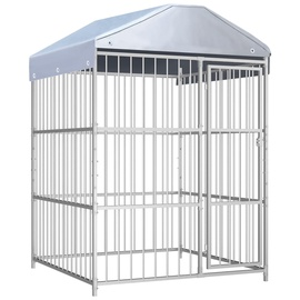 Suņa būris VLX Outdoor Dog Kennel w/ Roof Silver, 1500x1500x2000 mm
