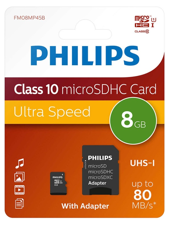 Mälukaart Philips Micro SD Card 8GB + Adapter FM08MP45B