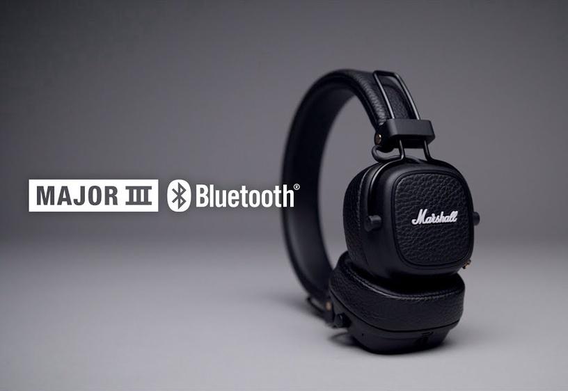 Ausinės Marshall Bluetooth Major III Black, belaidės