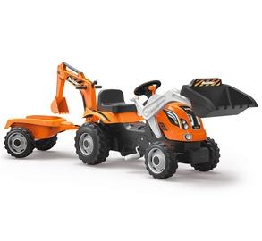 Vaikiškas traktorius su pedalais ir kaušu, oranžinis