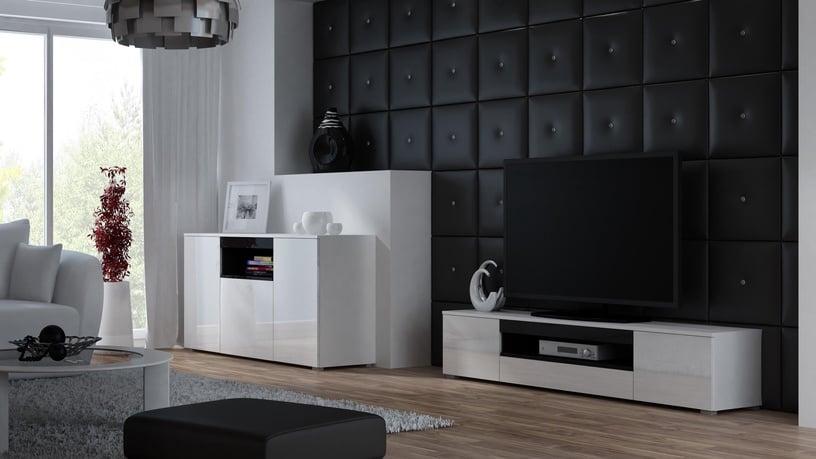 TV galds Cama Meble Viva 180, melna, 1800x400x374 mm