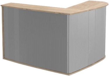 Skyland Offix New OMC 1815 Corner Reception Desk Left Sonoma Oak/Metallic
