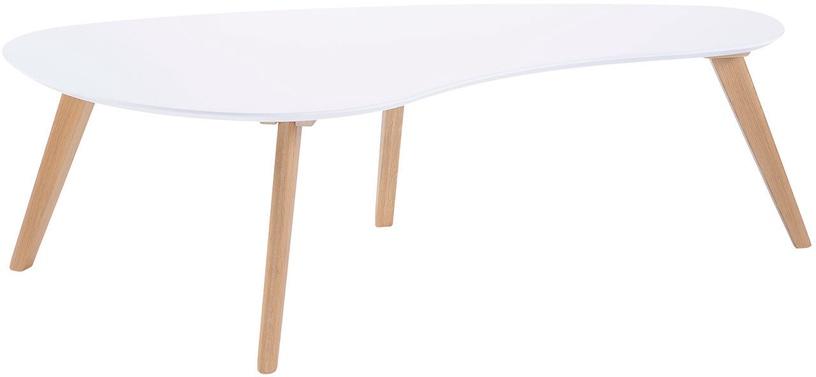 Kafijas galdiņš Home4you Scarlette, balta/ozola, 1200x600x380 mm