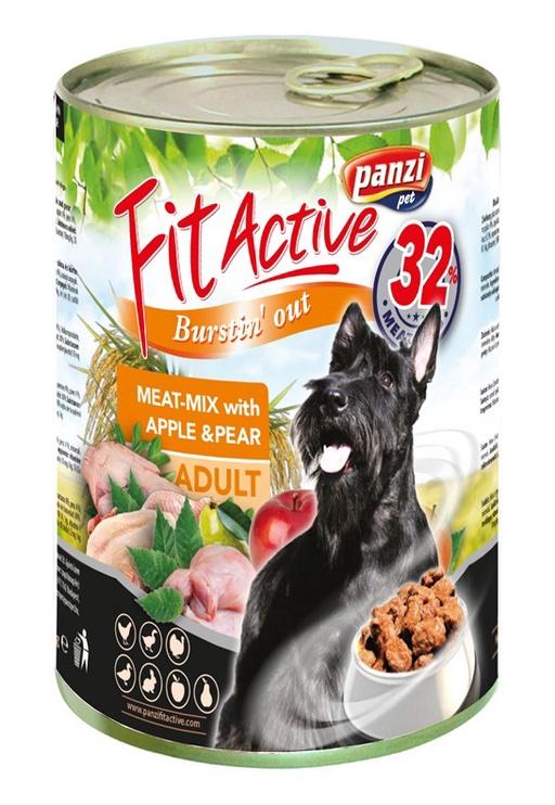 Влажный корм для собак (консервы) Panzi FitActive Adult Meat-Mix With Apple & Pear 415g