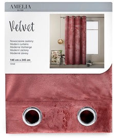 Nakts aizkari AmeliaHome Velvet, rozā, 1400x2450 mm