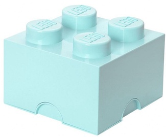 LEGO Storage Brick 4 Knobs Medium Aqua Light Blue