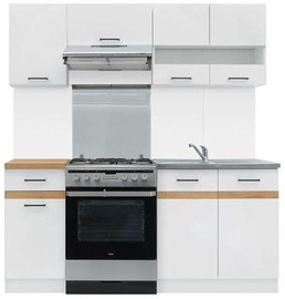Virtuvės baldų komplektas Black Red White Junona White/Oak, 1.8 m