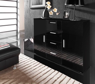 Cama Meble Uni Chest Of Drawers Black/Black Gloss