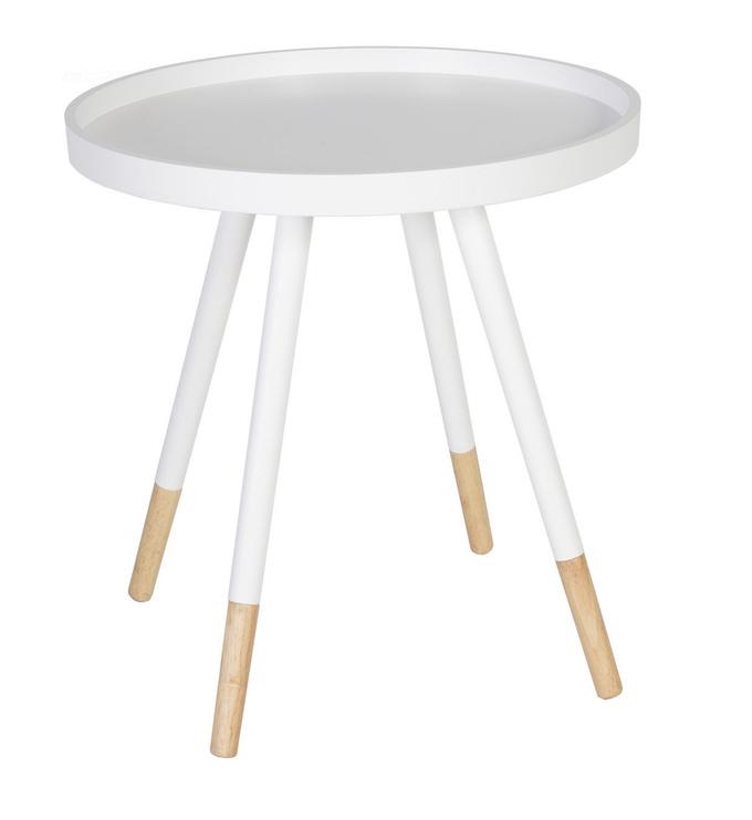Kafijas galdiņš Home4you Foxy, balta, 460x460x480 mm