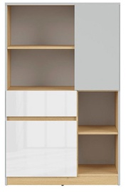 Black Red White Nandu Shelf 79.5x126x39cm Gray/Oak/White