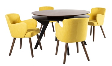 Home4you Eleanor Dining Set Yellow/Walnut