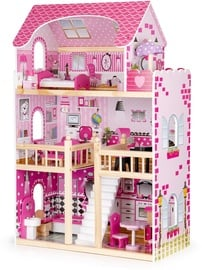 EcoToys Wooden Dollhouse With Furniture And LED Pink