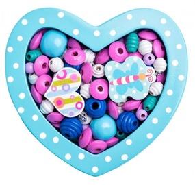 Apyrankių gaminimo rinkinys Woodyland Wooden Beads Small Turquoise Heart