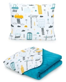 MamoTato Baby Blanket And Pillow Town Blue