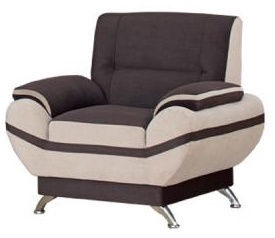 Kanclers Livonia Armchair Velor Dark Brown/Beige