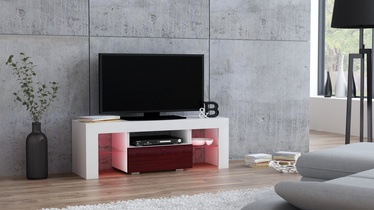 TV staliukas Pro Meble Milano 110 With Light White/Red, 1100x350x450 mm