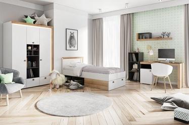 Комплект мебели для детской комнаты Szynaka Meble Riva, белый/черный/дубовый