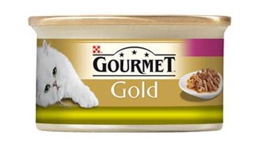 Konservuotas ėdalas suaugusioms katėms Gourmet Duo, su triušiena ir kepenėlėmis, 85 gr