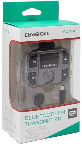 Omega OUTF28 Bluetooth 2.1/EDR FM Transmitter For Car Radio/Charger USB 1.5A Black
