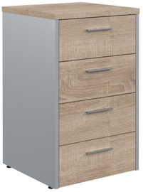 Skyland Offix New Drawer Cabinet OLC-4D.1 Light Sonoma Oak/Metallic