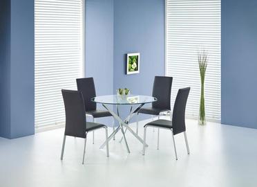 Обеденный стол Halmar Raymond, прозрачный/хромовый, 1000x1000x730мм